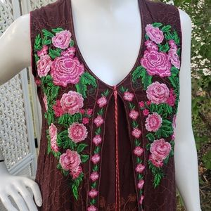 Boho Style Embroidered Pink Roses and Brown Dress!